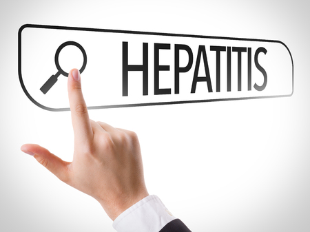 url virtual: Hand searching online on white background with text: Hepatitis