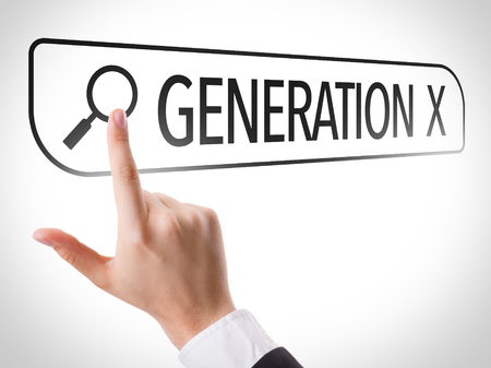 gen: Hand searching online on white background with text: Generation X