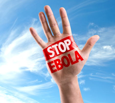 Hand on sky background with text: Stop ebola