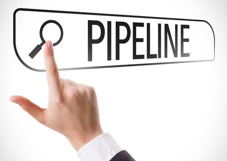 url virtual: Hand searching online on white background with text: Pipeline Stock Photo