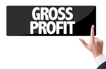 surplus: Business man pressing button with text: Gross profit