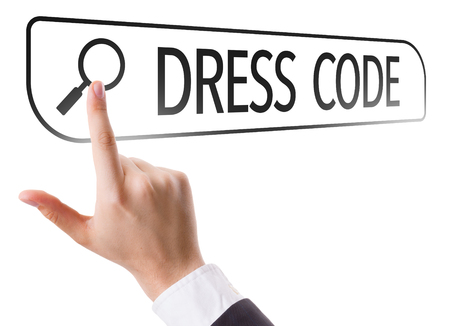 url virtual: Hand searching online on white background with text: Dress code Stock Photo