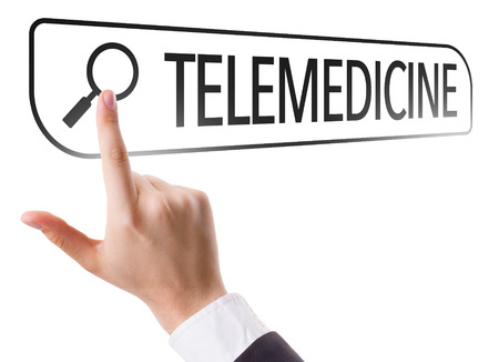 url virtual: Hand searching online on white background with text: Telemedicine
