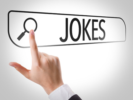 jokes: Hand searching online on white background with text: Jokes