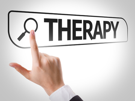 url virtual: Hand searching online on white background with text: Therapy