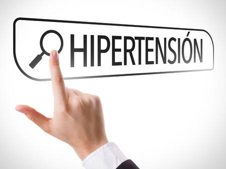 url virtual: Hand searching online on white background with text: Hipertension (hypertension in Spanish)