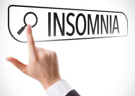 insomniac: Hand searching online on white background with text: Insomnia