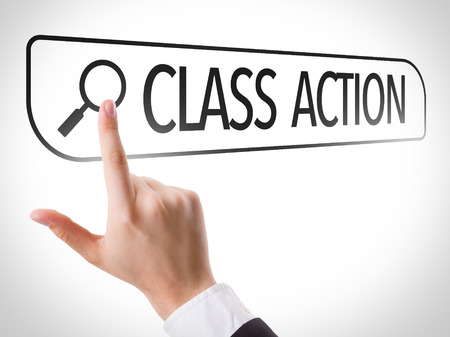 Hand searching online on white background with text: Class action