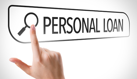 url virtual: Hand searching online on white background with text: Personal loan