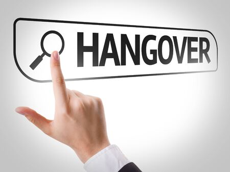 hangover: Finger pointing at search bar with Hangover Stock Photo