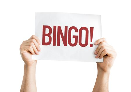 exclaim: Hands holding placard with Bingo on white background Stock Photo