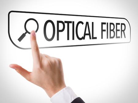 search bar: Finger pointing at search bar with Optical Fiber Stock Photo