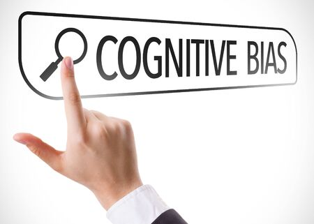 illogical: Finger pointing at search bar with Cognitive Bias Stock Photo