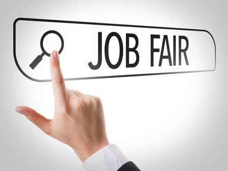 search bar: Finger pointing at search bar with Job Fair Stock Photo