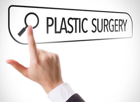 Vinger wijzen naar zoekbalk met Plastic Surgery Stockfoto