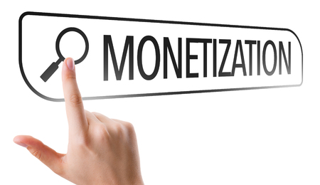 coining: Finger pointing at search bar with monetization Stock Photo