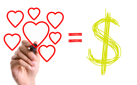 equals: Love equals money symbol drawn with a marker pen