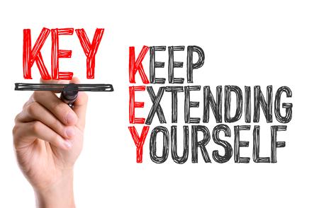 extending: Keep extending yourself written with a marker pen