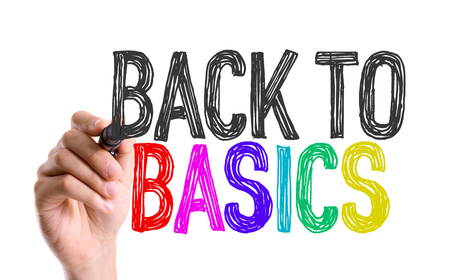 basics: Back to basics written with a marker pen