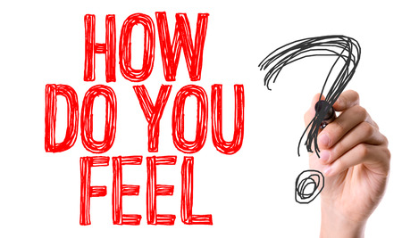 by feel: How do you feel? written with a marker pen