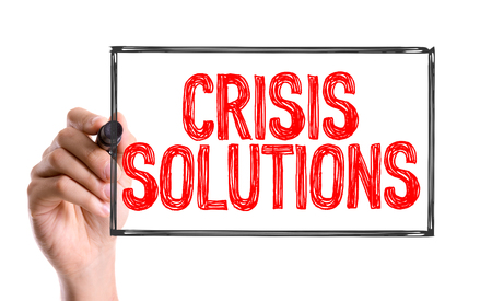 marker pen: Crisis solutions written with a marker pen Stock Photo