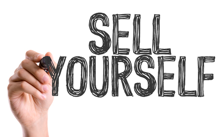 persuasiveness: Sell yourself written with a marker pen
