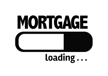 refinancing interest rates: Progress bar loading with the text Mortgage Stock Photo