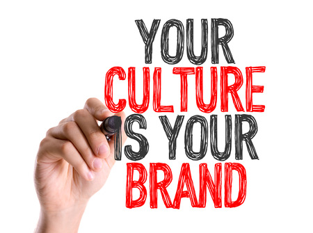 identidad cultural: Your culture is your brand written with a marker pen
