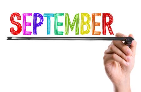 September geschreven met een marker pen Stockfoto