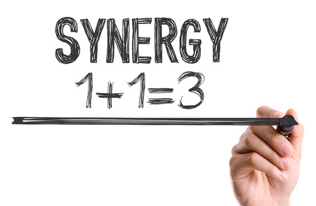 synergy: Synergy written with a marker pen