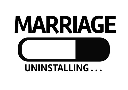 relationship breakup: Progress bar uninstalling with the text Marriage Stock Photo