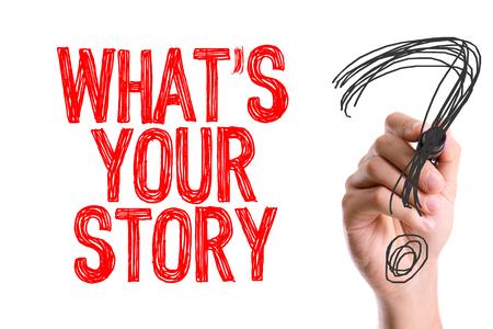 comunicación escrita: ¿Cuál es tu historia? escrito con un rotulador