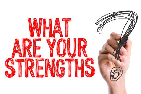 What are your strengths? written with a marker pen
