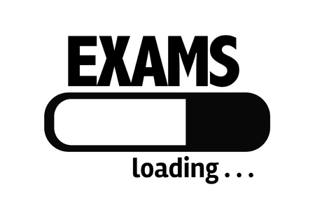 final examination: Progress bar loading with the text Exams
