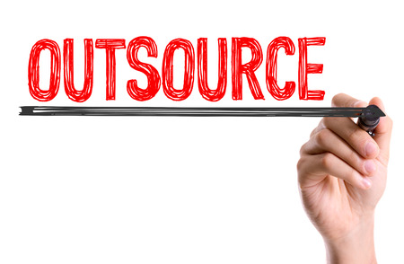 outsource: Outsource written with a marker pen Stock Photo