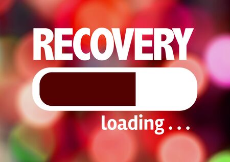 recovery: Progress bar loading with the text Recovery Stock Photo