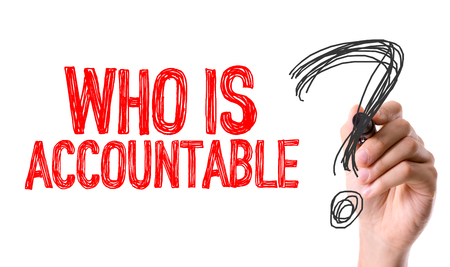 accountable: Who is accountable? written with a marker pen Stock Photo