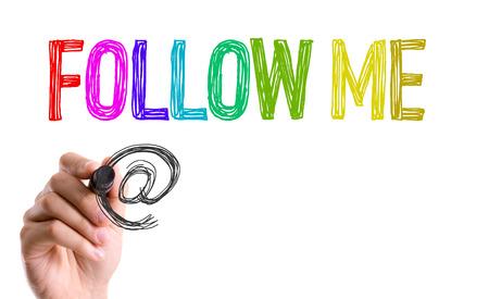 Follow me written with a marker pen Stock Photo