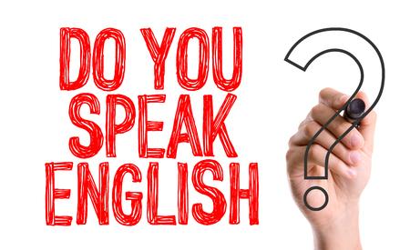comunicaci�n escrita: �Habla usted Ingl�s? escrito con un rotulador Foto de archivo