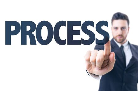sop: Business man pointing the text: Process Stock Photo