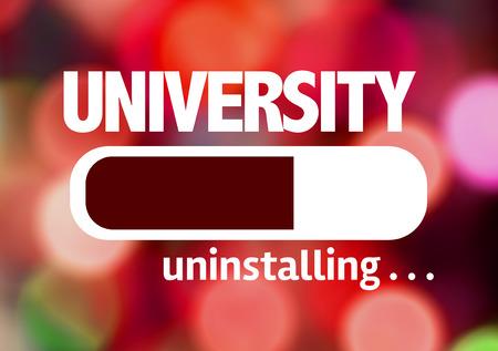 university text: Progress bar uninstalling with the text University