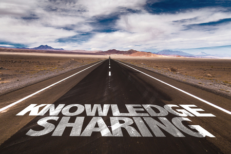 lead sled: Knowledge sharing written on the road Stock Photo