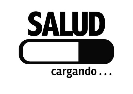 Progress bar loading with the text Salud (health in Spanish) Stock Photo