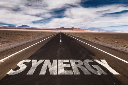synergy: Synergy written on the road