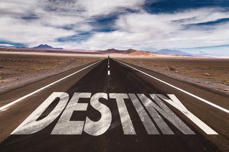 destiny: Destiny written on the road Stock Photo