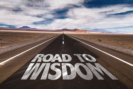 street wise: Road to wisdom written on the road Stock Photo