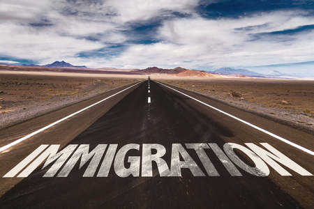 illegal immigrant: Immigration written on the road