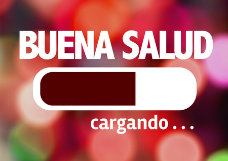 Progress bar loading with the text Buena Salud (good health in Spanish) Stock Photo