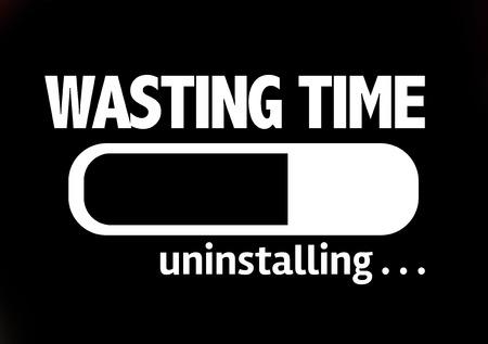 procrastination: Progress bar uninstalling with the text Wasting Time Stock Photo