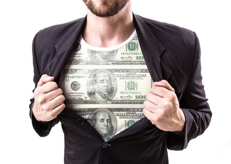 usd: Businessman stretching suit with USD banknote top on bokeh background Stock Photo